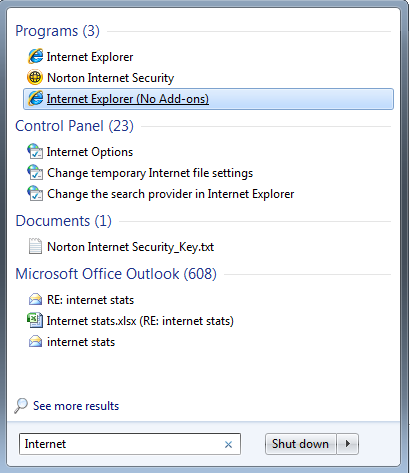Internet Explorer (No Add-ons) search in Windows 7 screenshot